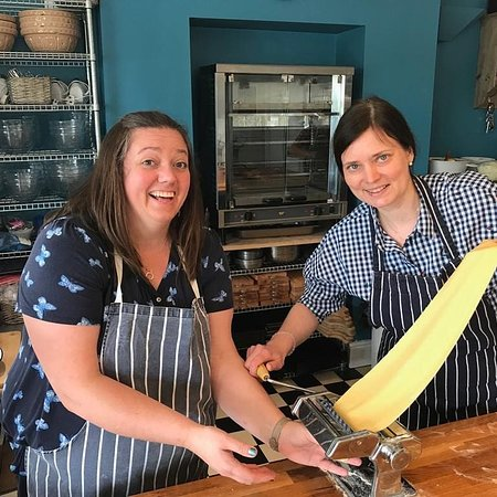 Deal, UK: Pasta making teambuilding event at Chequers Kitchen Cookery School.