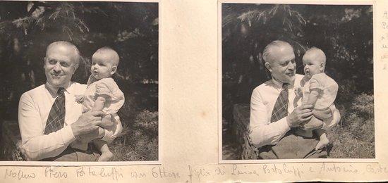 Piero Portaluppi with Ettore son of Antonio Castellini and Luisa Portaluppi ( Piero 's daughter) ca 1942