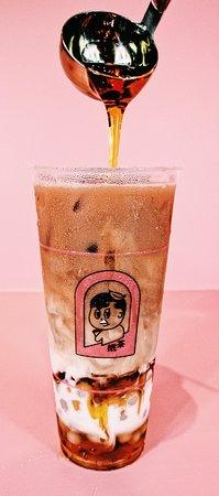 caramel milk tea w/ taro & sweet potato tapioca