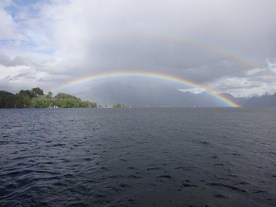 Skip the Line: CabriO Mt Stanserhorn Railway Ticket: Rainbow over Lake Luzern