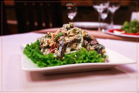 Salad with prunes Prunes, veal, corn, pepper, cashew, sour cream.