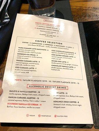 Ashling Kitchen And Bar: Menu: Desserts, Coffee, Alcoholic Dessert Drinks