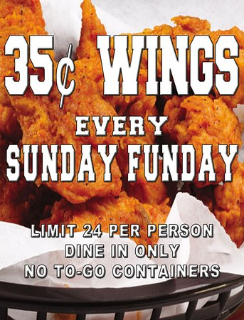 Sunday Funday at Choppers Bar and Grill. with our $ .35 Wing Special.  Come on in relax, drink some cocktails, and snack on wings!  BBQ, Buffalo Hot, Buffalo Mild, Chili Garlic, Honey BBQ, Teriyaki – or just plain!  Limit 24 per person. Dine-In Only No To-Go Containers