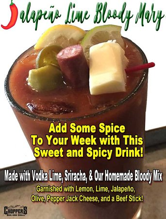 Let's clear up that head with breakfast and a Jalapeño Lime Bloody Mary!  Made with Vodka Lime, Sriracha, & Our Homemade Bloody Mix. Garnished with Lemon, Lime, Jalapeño, Olive, Pepper Jack Cheese, and a Beef Stick!