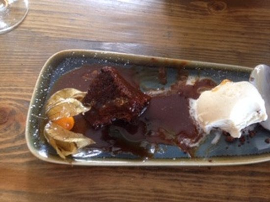 Warm Gingerbread with Toffee Sauce and Vanilla Ice Cream