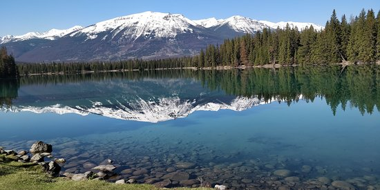 Fairmont Jasper Park Lodge: View from the lakeside in front of the hotel