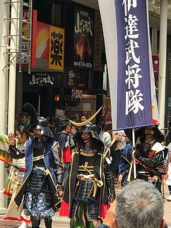 仙台市, 宮城県, 青葉祭り 伊達武将隊の市街地行進。祭りを盛り上げる。