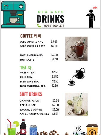 Coffee and drinks menu (correct as of 27 MAY 19)