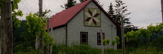 """Lemoyne Star"" quilt block at Gillis of Belleisle Winery, 1826 Route 124, Springfield, NB"