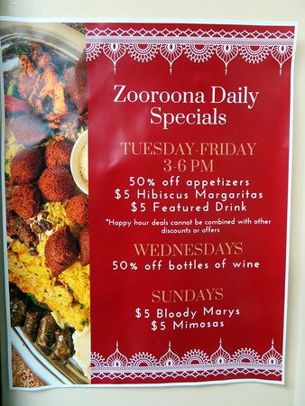 Zooroona offers specials Tuesday through Friday and on weekends.