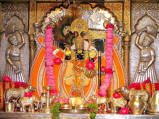 India the land of Temples a temple in Rajasthan the  Sanwaliaji temple of the Dark Krishna is situated on the Chittorgarh - from Udaipur 40 km. Chittorgarh. The deity also known as Shri Sanwaria Seth.The legends has it that in the year 1840, a milkman named Bholaram Gurjar dreamt of three divine statues buried under the ground in the Chapar village of Bhadsora-Bagund...