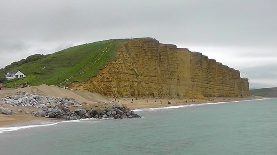 In infamous Broadchurch Cliffs at West Bay with sea defence work in progress