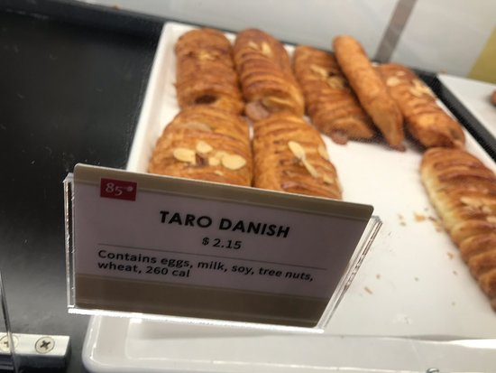 85C Bakery Cafe: Most if not all are made with dairy ingredients.  Good place to eat or bring home or to office, that is unless you're lactose intolerant or have allergies to dairy.