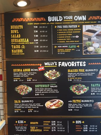 Willy's Mexicana Grill: Menu board