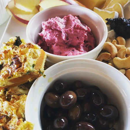 Morrisons of Glenrowan: Dianne's grazing plates are loaded with homemade delicacies including sweet potato and basil frittata, beetroot and ricotta dip, and hand picked and cured black olives.
