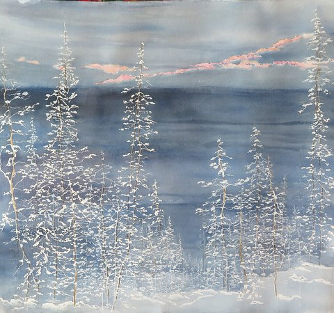 We had some lovely snows this winter ( in between the ice!). I wanted so much to capture the distance into the woods in watercolor so developed a new technique and this is one result. 90% of the work this year is new at whopaints!