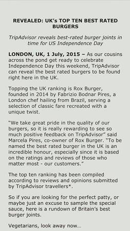 Rox Burger  number 1 UK'S BURGER by TRIPADIVISOR 2015