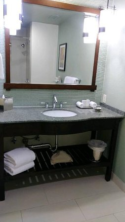 A beautiful vanity that is set up really nice and simple.  They also have bottled Body Wash, Shampoo and Conditioner in the shower/bath that you can use.