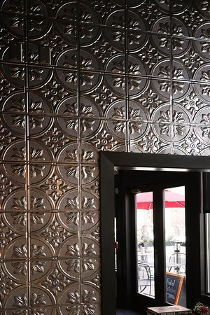 Old City Wine Bar, 108 W Jackson Ave, Knoxville, TN - Interior w/ Lovely Pressed Tin Wall