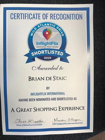 Brian de Staic Jeweller: Certificate of Recognition : Brian de Staic - A GREAT SHOPPING EXPERIENCE