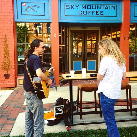 Busking with coffee.