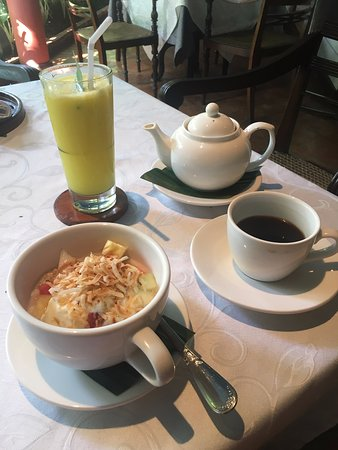 Breakfast at the Melati restaurant.  This was followed by eggs, bacon and hash browns together with whole grain toast, jam and butter.