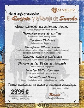 Menú largo y estrecho en Restaurante Álvarez. El Quijote y la Navaja de Sancho