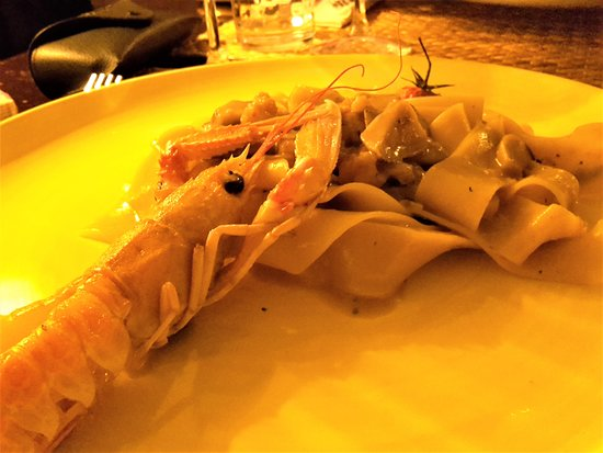pappardelle with porcini and scampi