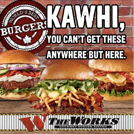 """The WORKS Craft Burgers & Beer: Kawhi, you've got 58 wins and we've got 58 different toppings; definitely not a coincidence.   Kawhi Leonard: Re-sign and we'll sign over burgers for life! #stayforakawhile  #kawhineanddine  """"Like"""" and show Kawhi why he should stay!"""
