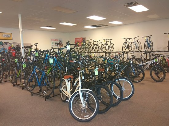 Our floor selection of bikes. Old photo, we've got even more bikes since.