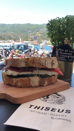 Traditional Sandwich with sourdough bread, greek feta, tomato, olives, cucumber, paprika, fresh oil and oregano.