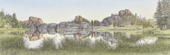 "‪‪Hill City‬, ‪South Dakota‬: ""Symphony of Water & Stone"" by Jon Crane ---a watercolor print of Sylvan Lake in the Black Hills, SD.‬"