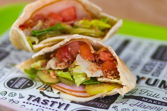 Pita My Heart: Club Pita with turkey, ham, bacon. Fresh and crisp.