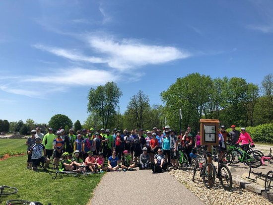 Rosedale, IN: Donut de Mayo Riders enjoying the Parke Community Rail Trail in beautiful Parke County, Indiana May 5, 2019