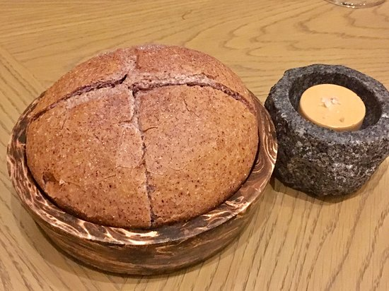 """Front Room: """"Riceberry sourdough & Housemade Soya butter"""" -My favorite one."""