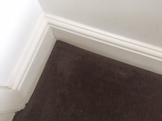 The room had patched up paint, half painted, discoloured everyewhere, very disappointing, shabby and off putting.
