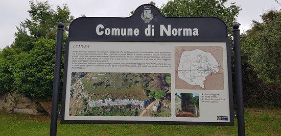 Parco Archeologico di Norba: Un cartello descrittivo del sito posto lungo il viale di accesso al sito