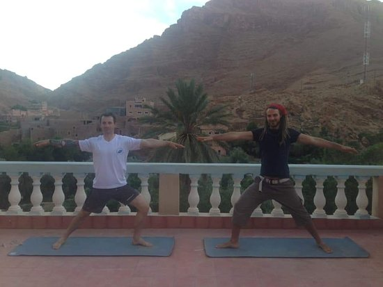 Couldn't ask for better views on the roof terrace practicing yoga