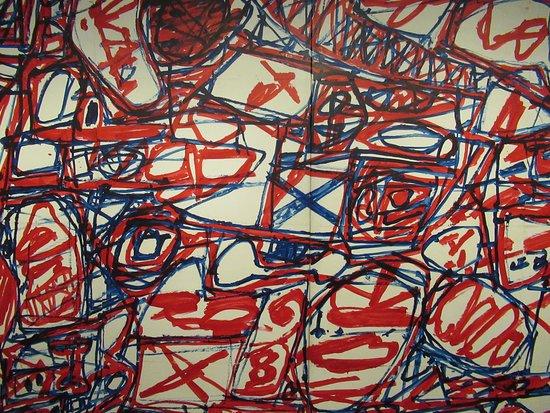 """Centre Pompidou Malaga: """"Le cours des choses - Mire G 174 (Boléro)"""" (1983) par Jean DUBUFFET (1901-1985) : détail, réalisé pour le pavillon français à la Biennale de Venise en 1984. Constitué de l'assemblage de multiples feuilles de papier coloriées (67 x 100 cm)"""