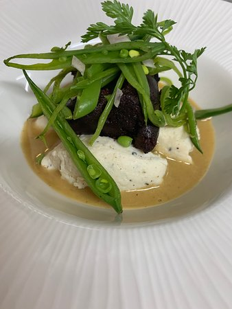 Guinea fowl quenelle bacon cream and french black pudding