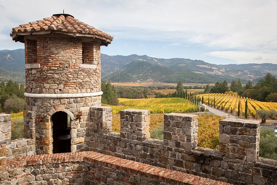 View from the South Tower Terrace. Castello di Amorosa is surrounded by 30 acres of vineyards in the foothills of the Diamond Mountain District.