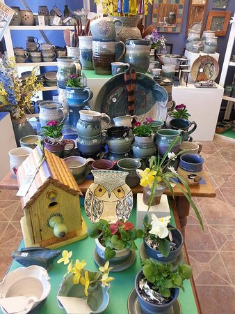 Tolland, CT: IN addition to pottery you will find work by other local artisans such as wooden birdhouses and mirrors, weaving, paintings and more.