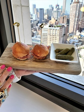 Complimentary sliders (charcuterie & pickles)