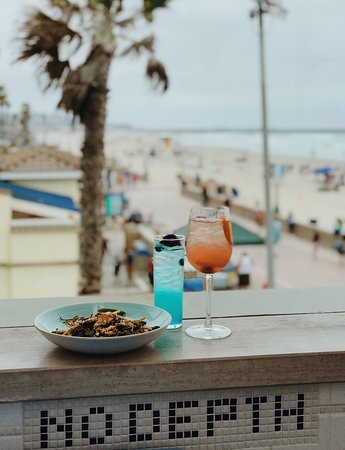 Drinks with a beach view