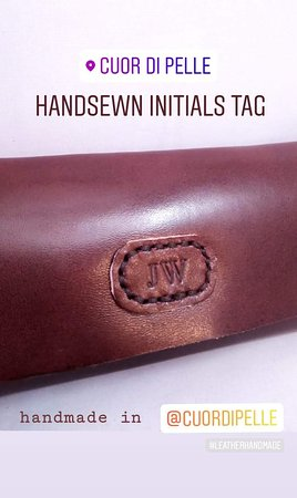 Custom made pencil holder with handstitched initials tag  Hand-cut & Handsewn with antic gold cufflinks and handmade rounded edges.  ~ no machines were harmed during the making of this object ~ :D  Entirely made in our shop in Florence - Italy! :)