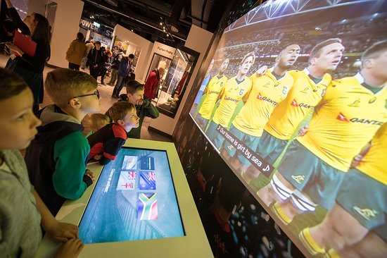 Singing along to Australia antham at the World Rugby Museum