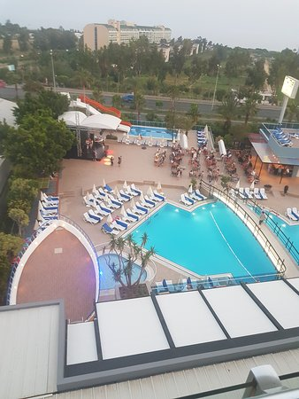 View of pool and bar from hotel balcony on 6th floor.