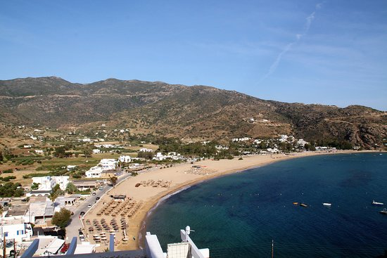 The view of Mylopotas beach from our room.