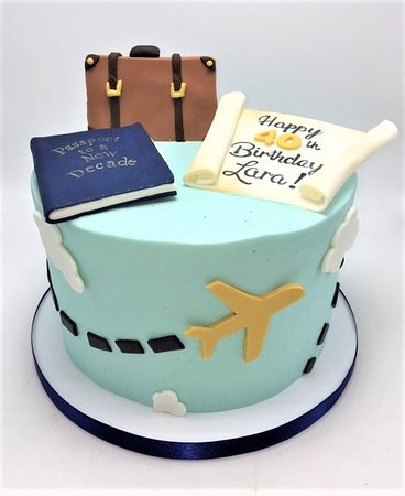 passport to a new decade travel map suitcase cake