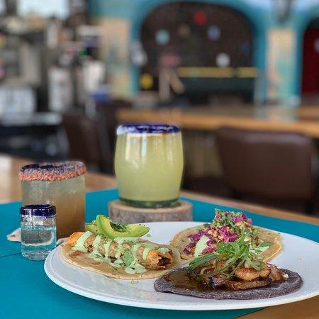 Tamarindo Latin Kitchen and Bar: Tacos: Roasted duck taco, Pork belly taco and Carne asada taco with a cheese crisp  Drinks: House margarita and Tamarindo margarita with mezcalito